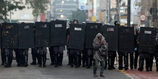 Operação policial no centro de São Paulo.