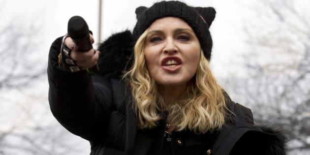 Madonna performs during the Women's March on Washington, Saturday, Jan. 21, 2017, in Washington. (AP Photo/Jose Luis Magana)