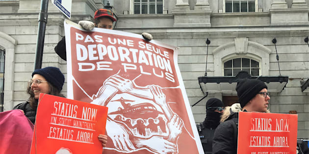 Protesters call for a halt to the deportation of Lucy Francineth Granados in a Montreal rally this week.
