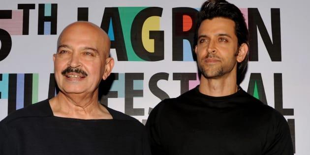 Filmmaker Rakesh Roshan (L) with his son and Bollywood actor Hrithik Roshan.