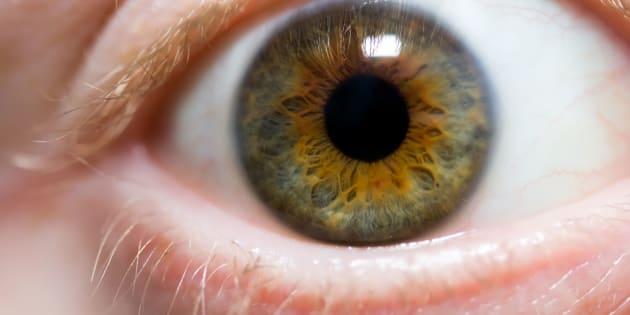 A macro shot of a hazel eye