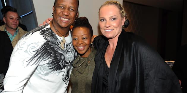 Dj Fresh and his wife Thabiso Sikwane with Zelda la Grange.