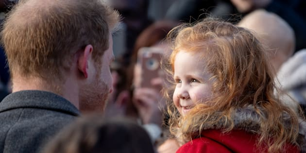 Prince Harry meets tiny fellow redhead Eliza Morris in Birkenhead U.K. on Monday