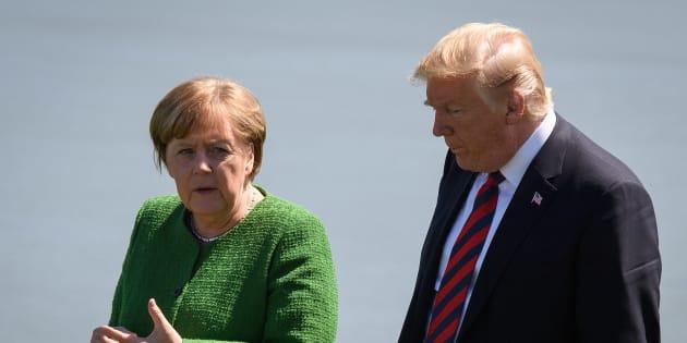 Angela Merkel et Donald Trump lors du G7 à La Malbaie au Québec le 8 juin 2018.