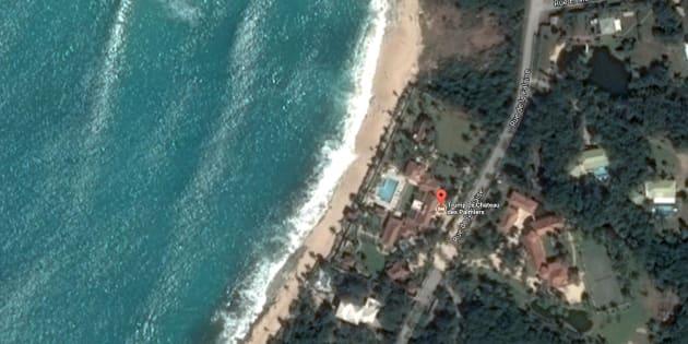 Captura de la vista aérea de la mansión de Donald Trump en la isla de San Martín.
