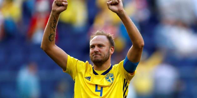 Andreas Granqvist pendant le match de Coupe du monde Suède-Suisse, le 3 juillet 2018.