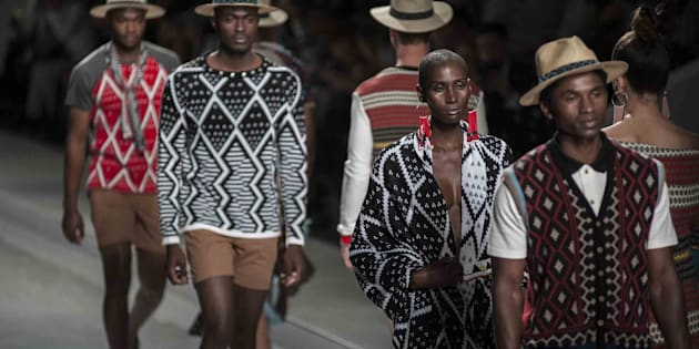 Models present creations of MaXhosa by Laduma during Mercedes-Benz Fashion Week Africa at African Pride Melrose Arch Hotel in Johannesburg. November 1, 2014.