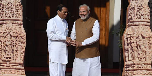 A file photo of Sri Lankan President Maithripala Sirisena and Indian Prime Minister Narendra Modi.