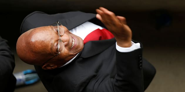 Former South Africa President Jacob Zuma waves during Winnie Madikizela-Mandela's funeral service in Soweto, South Africa April 14, 2018.