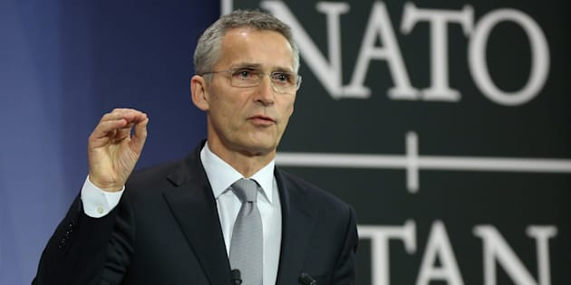 BRUSSELS, BELGIUM - OCTOBER 27: NATO Secretary General Jens Stoltenberg delivers a speech during a press conference after the NATO Defense Ministers Meeting in Brussels, Belgium on October 27, 2016.  (Photo by Dursun Aydemir/Anadolu Agency/Getty Images)