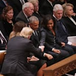 Trumps And Obamas Share Awkward, Tense Moment At George H.W. Bush