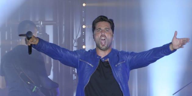 El cantante David Bustamante durante un concierto en Málaga.