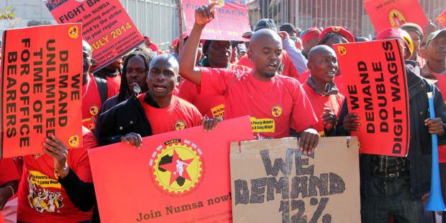 File footage of a 2014 Numsa strike.