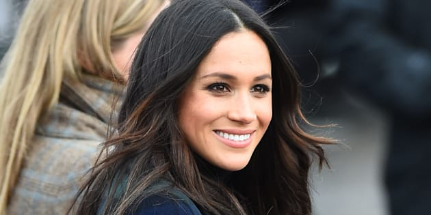 Meghan Markle takes part in a walkabout at Edinburgh Castle.