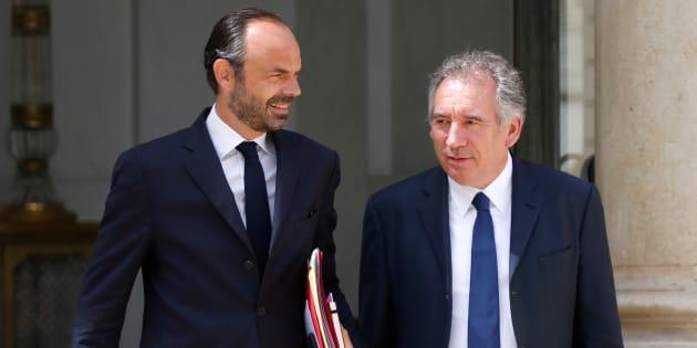 Edouard Philippe et François Bayrou à l'Elysée le 31 mai 2017.