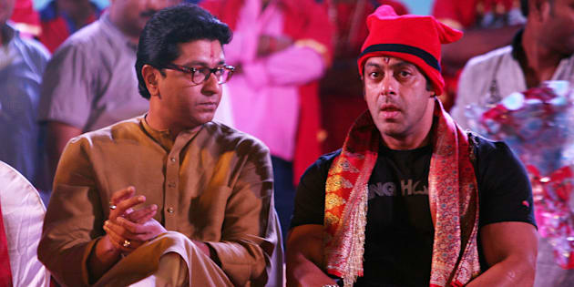 File photo of actor Salman Khan (R) with MNS chief Raj Thackeray.