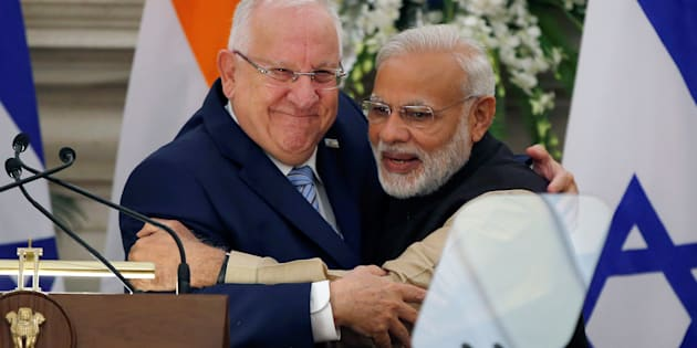 Israeli President Reuven Rivlin and Narendra Modi.