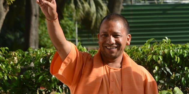 CM of Uttar Pradesh Yogi Adityanath gestures after a meeting with BJPs President Amit Shah in New Delhi.