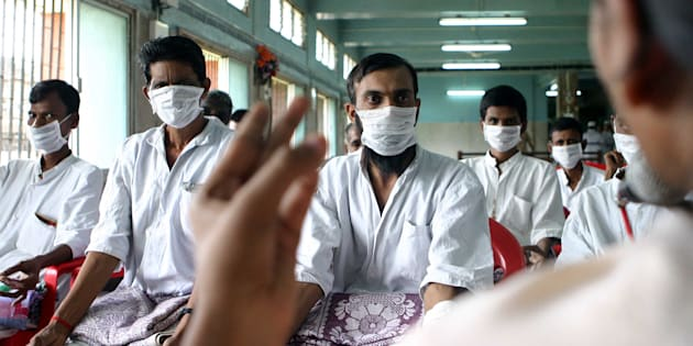 MUMBAI, INDIA - AUGUST 25, 2006: Diseases  Patients with Tuberculosis undergoing Yoga therapy at Sewri Hospital on Friday. (Photo by Vikas Khot/Hindustan Times via Getty Images)