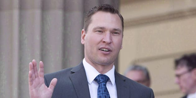 Deron Bilous is sworn in as the Alberta Minister of Municipal Affairs, Service Alberta in Edmonton on May 24, 2015. He is now economic development minister.