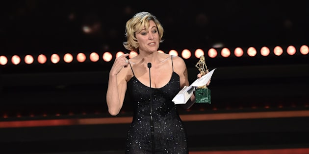 French Italian actress Valeria Bruni Tedeschi  wins the 'David di Donatello Award 2017'  for Best actress  protagonist of the movie ''La pazza gioia'' in Rome, Italy, 27 March 2017. The David di Donatello award is a film prize presented annually to honour the best of Italian and foreign motion picture productions.ANSA/GIORGIO ONORATI