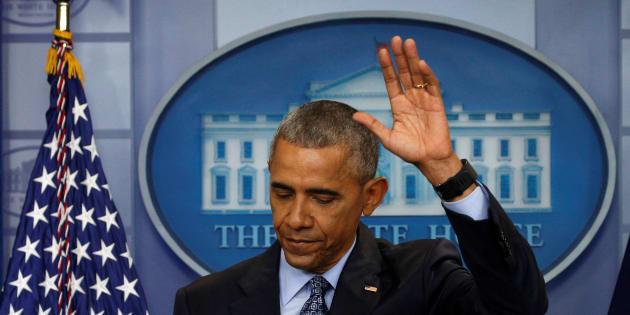 Barack Obama lors de sa dernière conférence de presse, le 18 janvier.   REUTERS/Kevin Lamarque