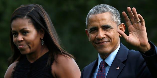 Michelle et Barack Obama devant la Maison Blanche le 21 septembre 2016.