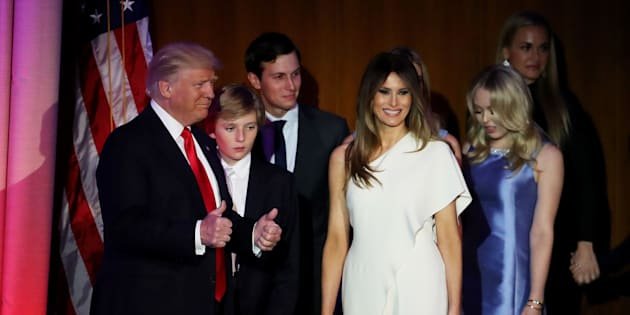 NEW YORK, NY - NOVEMBER 09:  Republican president-elect Donald Trump acknowledges the crowd along with his son (L-R) Barron Trump, wife Melania Trump, Jared Kushner and Tiffany Trump during his election night event at the New York Hilton Midtown in the early morning hours of November 9, 2016 in New York City. Donald Trump defeated Democratic presidential nominee Hillary Clinton to become the 45th president of the United States.  (Photo by Mark Wilson/Getty Images)