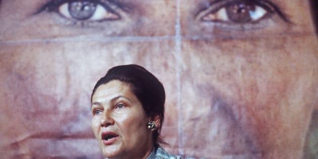Simone Veil, ministre de la Santé, candidate aux élections européennes, lors d'un discours en mai 1979, à Paris.