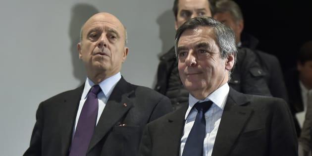 Alain Juppé et François Fillon à Bordeaux le 25 janvier 2017.