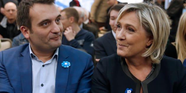 Florian Philippot au côté de Marine Le Pen en novembre 2016, quand tous deux défendaient l'abrogation de la loi Taubira sur le mariage pour tous.