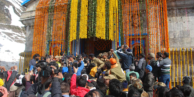 KEDARNATH, INDIA - APRIL 24: Hindu devotees waiting for their turn outside Kedarnath shrine on April 24, 2015 at Kedarnath, India.