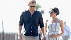 Pregnant Meghan Cradles Baby Bump As She Joins Harry To Meet Fans In