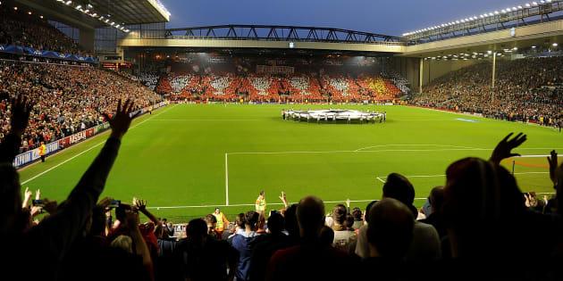Anfield juste avant le coup d'envoi de Liverpool-Ludogorets en Ligue des champions le 16 avril 2014.