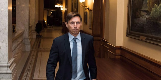 Patrick Brown leaves Queen's Park after a press conference in Toronto on Jan. 24, 2018.