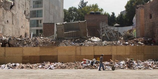 El predio de Álvaro Obregón, donde se derrumbó un edificio causando la muerte de 49 personas, el 19 de octubre de 2017.