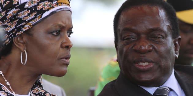 Zimbabwe's President Robert Mugabe's wife Grace talks to former vice-president Emmerson Mnangagwa.
