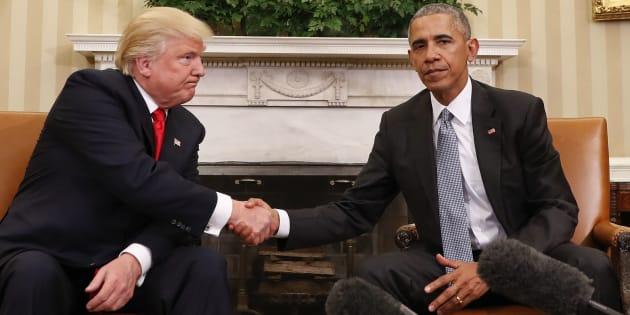 Le président Obama et le nouveau président élu Donald Trump dans le Bureau Ovale, le 10 novembre 2016.