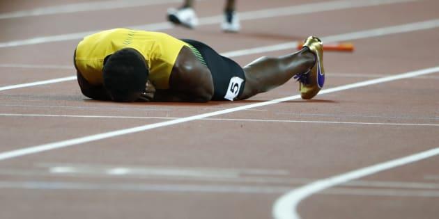 Bolt, en el momento de la lesión.