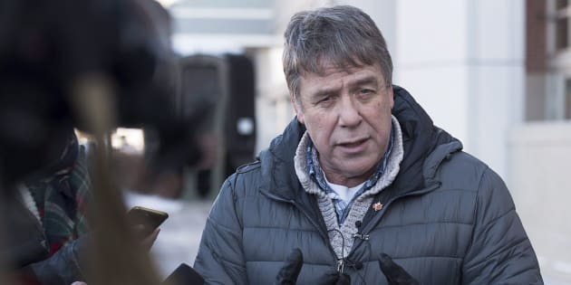 Former federal MP Peter Stoffer talks to reporters to address sexual harassment allegations in Halifax on Feb. 9, 2018.