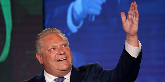 Progressive Conservative leader Doug Ford is photographed during his election night party following the provincial election in Toronto, June 7, 2018.