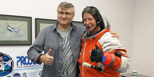 Sarah Jane Pell with Nikolay Moiseev, lead designer of the suborbital spacesuit she was testing while recording her TEDxMelbourne talk.
