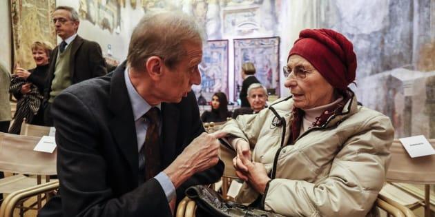 Piero Fassino e Emma Bonino a palazzo Giustiniani durante un incontro in memoria di Umberto Veronesi, Roma 30 novembre 2017. ANSA/GIUSEPPE LAMI
