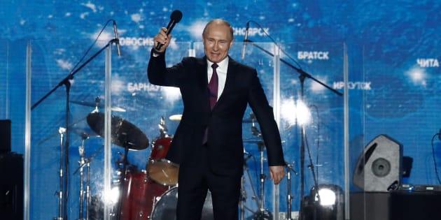 El presidente ruso, Vladimir Putin, durante un acto el 14 de marzo para conmemorar el aniversario de la anexión de Crimea por Rusia.