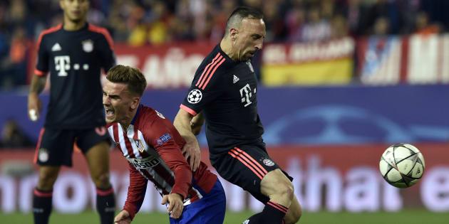 Franck Ribéry et Antoine Griezmann, le 27 avril 2016 lors d'un match de ligue des champions