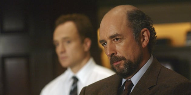 THE WEST WING -- 'The Hubbert Peak' Episode 5 -- Aired 11/17/04 -- Pictured: (l-r) Bradley Whitford as Josh Lyman, Richard Schiff as Toby Ziegler  (Photo by Ron Jaffe/NBC/NBCU Photo Bank via Getty Images)