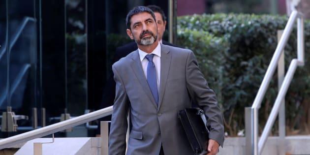 El mayor de los Mossos d'Esquadra, Josep Lluis Trapero, saliendo de la Audiencia Nacional, ayer.