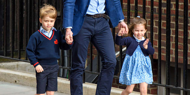 The Duke of Cambridge with Prince George and Princess Charlotte outside the Lindo Wing at St Mary's Hospital in Paddington, London, on Monday.