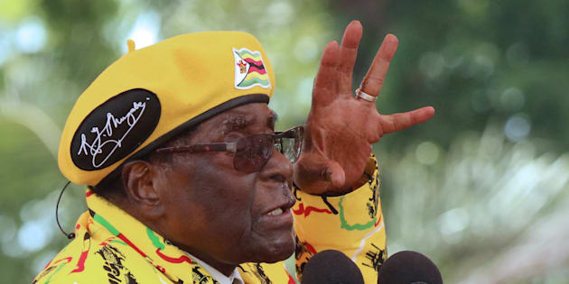 President Robert Mugabe gestures as he addresses a rally in Harare, Zimbabwe, November 8, 2017.