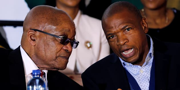 Jacob Zuma chats with Supra Mahumapelo before addressing the National Youth Day commemoration in Ventersdorp. June 16, 2017.